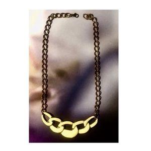 Vintage Enameled Link Pendant on Brass Tone Chain
